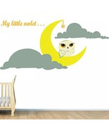 (24'' x 11'') Vinyl Wall Kids Decal Little Owlet and Crescent Moon, Clou... - $18.84