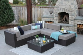 6 Piece Brown Wicker Outdoor Patio Sectional Set Halsted New - £781.45 GBP