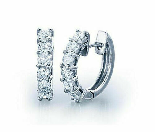 Primary image for Women 1.10Ct Round Cut Diamond Hinged Hoop Huggie Earrings 14K White Gold Over
