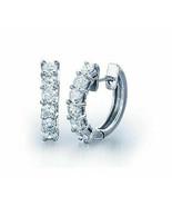 Women 1.10Ct Round Cut Diamond Hinged Hoop Huggie Earrings 14K White Gol... - $113.84
