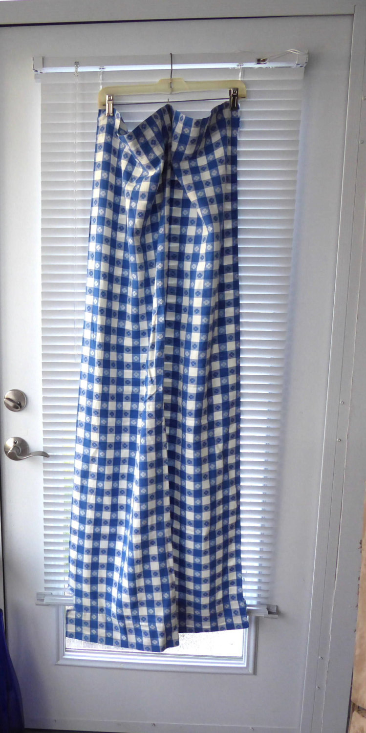 Retro 56 Long by 27 Curtain Drapery 1950s Blue And White Picnic Cloth Reversible