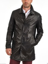 Men Leather Coat Winter Long Leather Coat Genuine Real Leather Trench COAT-UK48 - $214.46