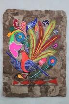 Mexican Folk Art Wall Decor Craft Painting Handmade Bark Hand Painted Re... - $12.99