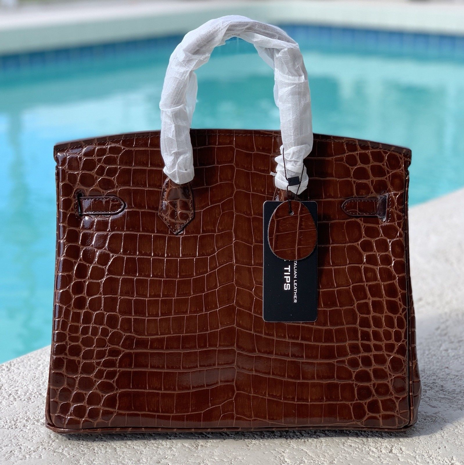 35cm Brown Crocodile Embossed Print Italian Leather Birkin Style Satchel Handbag