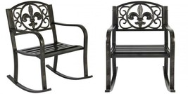 Patio Metal Rocking Chair Porch Seat Deck Outdoor Backyard Glider Rocker - $86.73