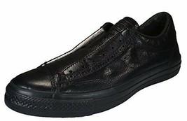 Converse by John Varvatos Leather Vintage Slip On Sneaker Black Mono (8.... - $122.46