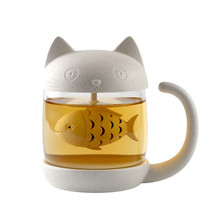 Mug Tea 3D Cute Cat Strainer Glass w/ Infuser Insulate Coffee Tumbler Cu... - €16,74 EUR