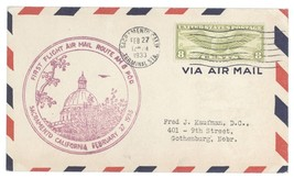 1933 Sacramento California First Flight Cover Air Mail Route AM 8 POD! C... - $7.69