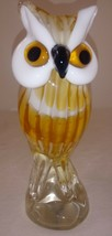 "Blown Glass Owl Figurine Art Animal Bird 7"" - $69.29"