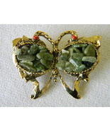 Vintage Butterfly Brooch Pin Green Stone Gold-tone - $9.49