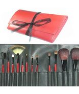 12 pcs Sexy Red Studio Goat Hair Mineral Makeup Brushes - $9.99