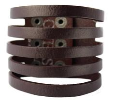 NEW NWT GUESS MEN'S CLASSIC STUDDED CUFF WRISTBAND BRACELET BROWN 102251 image 3