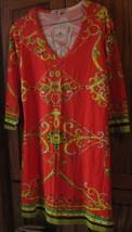 BARBARA GERWIT knit v-neck orange chain print dress size M - $79.99