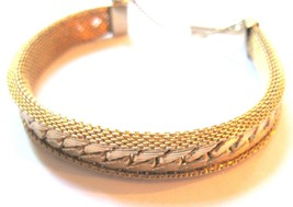 Vintage Gold-Plated Braided Chain Mesh Bracelet - $23.75