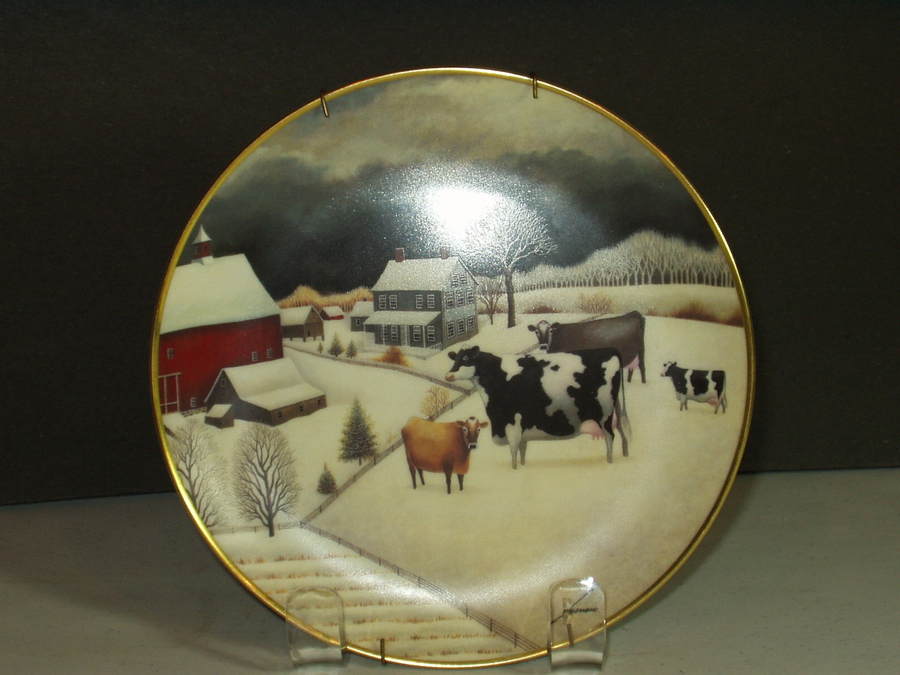 Cows In Winter American Folk Art Collection Ltd. Edition