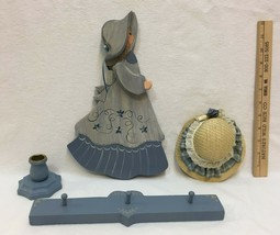 Finished Wood Craft Blue Country Girl  Candle Holder  Peg Rack  Straw Hat - $16.82