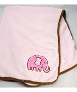 Elephant BABY BLANKET GIRL'S PINK/BROWN PLUSH FLEECE HB babyvision - $25.74