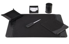 Majestic Goods 6 Piece Crocodile Black Leather Desk Set   - €52,28 EUR