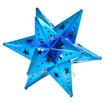 "Small 6.5"" Hanging Tin Indigo Blue Mexican Moravian Star Ornament Decoration image 4"