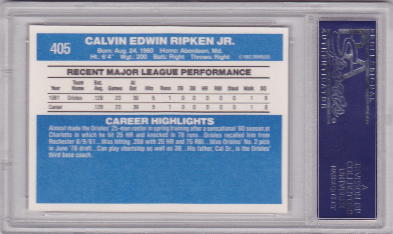Cal Ripken Jr. 1982 Donruss #405 Rookie Card PSA 9 MINT