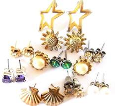 Lot Vintage Earrings Sunflowers Stars Freshwater Pearl Retro Costume Jew... - $10.39