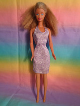 Vintage 1991 Mattel Blonde Crimped Hair Barbie Doll Lavender Dress - As Is - $7.18
