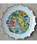 Vintage Florida State Plate Souvenir with Pink Flamingos Palm Trees Oran... - $68.99