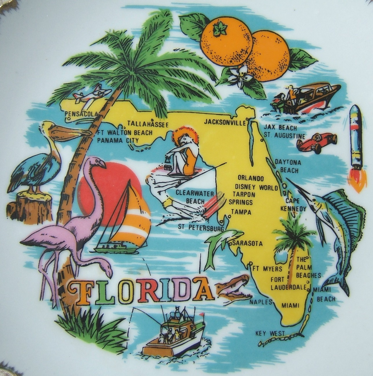 Vintage Florida State Plate Souvenir with Pink Flamingos Palm Trees Oranges GOLD