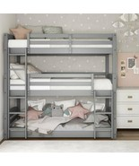 Gray Finish Wooden Twin Over Twin Triple Bunk Beds Convertible Sleeps 3 ... - $464.21