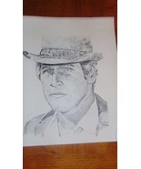 "Paul Newman Pencil Drawing-Movie Star 16""x 20""-Signed K. Cooney-Hat-Vintage - $3.99"