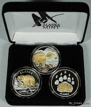 Alaska Mint 3 - BEAR SET Gold & Silver Medallion Proof - $356.39