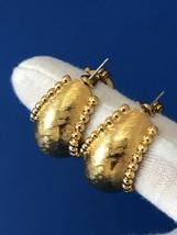 Vintage 80s Monet Earrings Chunky Hoop Huggie Gold Signed - $19.99