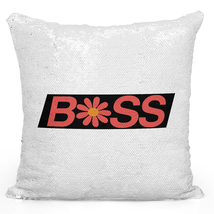 Sequin Throw Pillow Modern Home Decor Flip Mermaid Pillows Silver Pillows Boss - $34.25