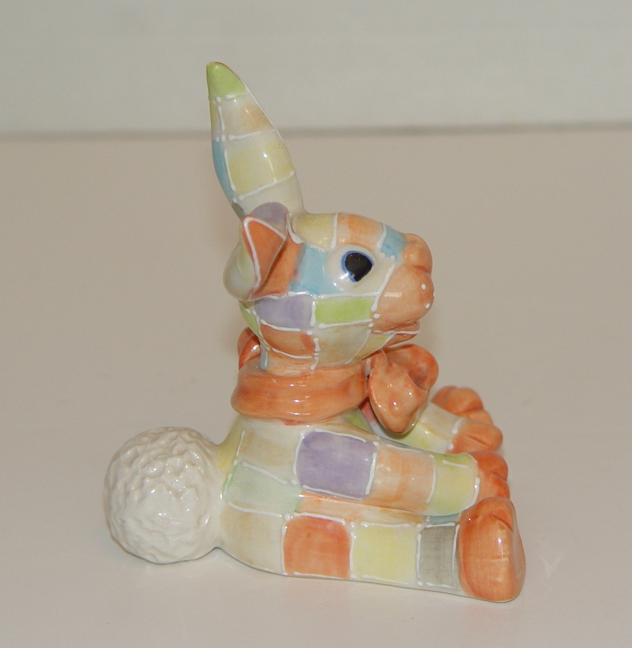 KOKO ORIGINALS Ceramic Patchwork Rabbit  Figurine : 3  1/2 in. Tall Signed