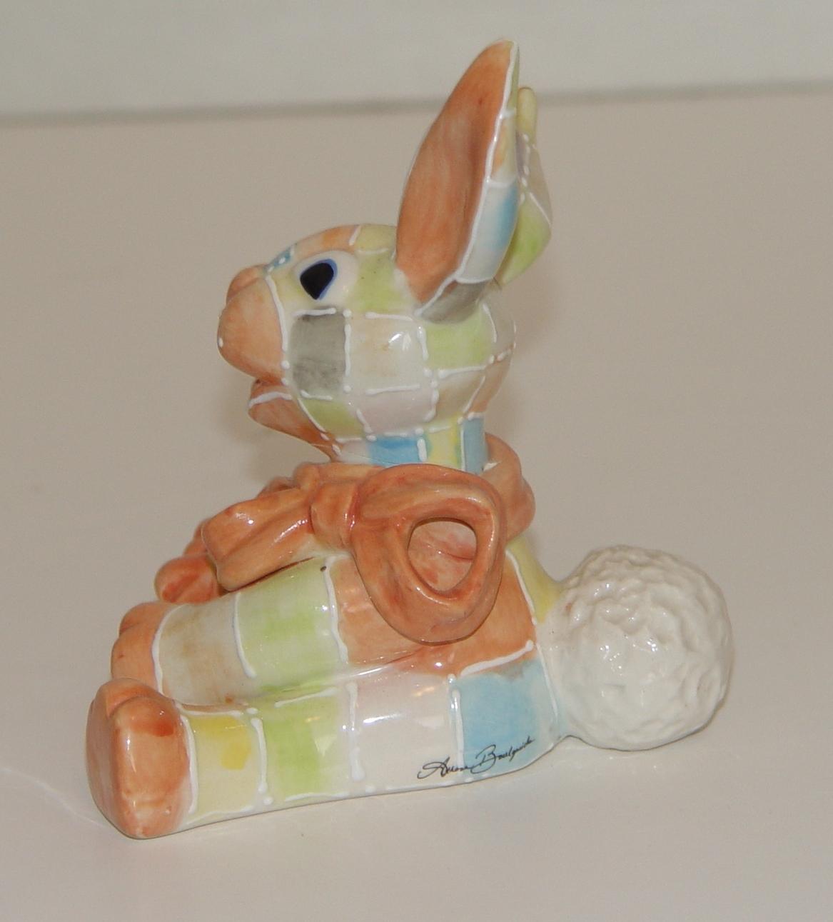KOKO ORIGINALS Ceramic Patchwork Rabbit  Figurine : 3  1/2 in. Tall Signed