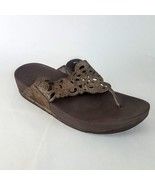 Fitflop Thong Wedge Sandal Cutout Brown Women's 9M - $28.04