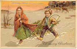 Bringing Home The Christmas Tree Paul Finkenrath Post Card - $8.00