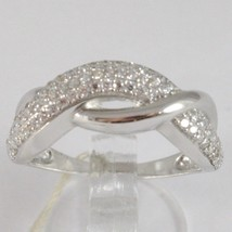 WHITE GOLD RING 750 18K, VERETTA WITH ZIRCON CUBIC, BRAIDED, UNDULATED - £256.86 GBP