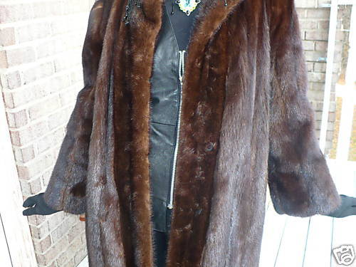 Black Diamond brown black Mink Fur Coat Jacket  S-M