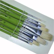 Watercolor & oil Paintbrushes Green Long Handled Brush Sets, 7-Piece(152S)