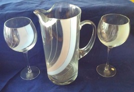 Frosted Etched Glass Pitcher w/ 2 Beverage Wine Glasses Blue Peach Swirl... - $29.92