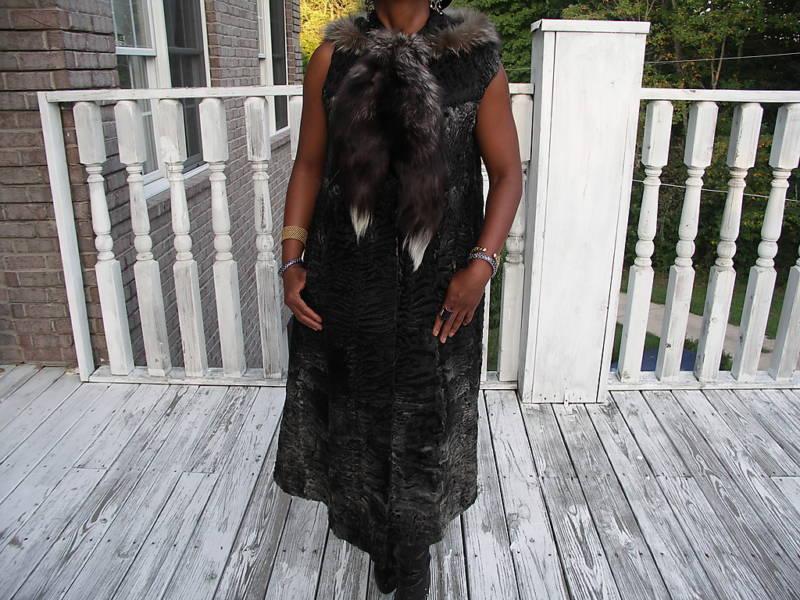 Black Gray hood Swakara & Silver fox Fur vest Coat S-M