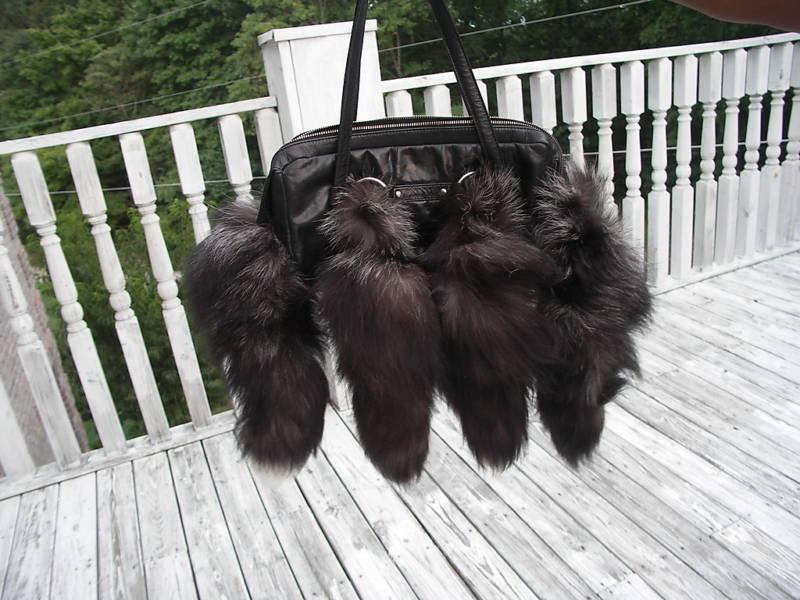 Black Mint Custom Design Silver fox fur handbag bag