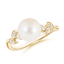 Vintage Style Freshwater Cultured Pearl Ring with Diamond Leaf Motifs - $266.31+