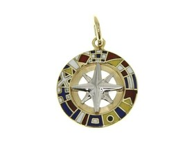 "SOLID 18K YELLOW GOLD COMPASS WIND ROSE PENDANT 1.5cm 0.6"" ENAMEL NAUTICAL FLAGS image 1"