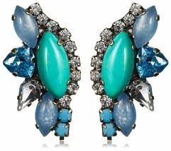 TOVA Turquoise Calcédoine Et Swarovski Cristal Long Post Boucles D'Oreilles Nwt