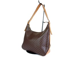 Authentic CELINE MACADAM PVC Canvas Leather Brown Shoulder Bag CS17191L - $189.00