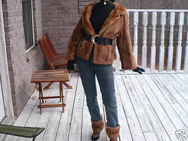 Cropped blonde hue Mink Fur coat jacket bolero - $465.29