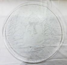 """Noël Verre Transparent Plateau 12.5 """" Bonhomme de Neige Neige Arbre - $13.42"""