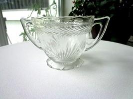 Jeannette Glass Sunburst Pattern Glass Open Sugar Bowl c1930's - $7.92